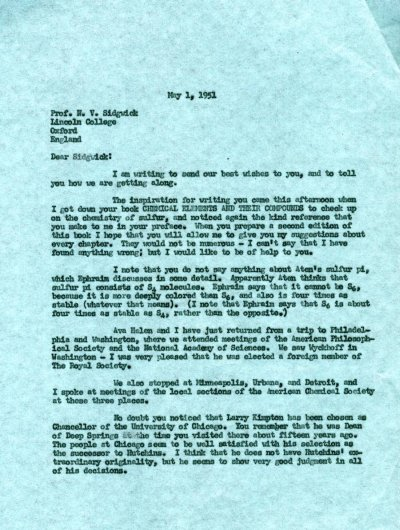 Letter from Linus Pauling to N.V. Sidgwick.Page 1. May 1, 1951