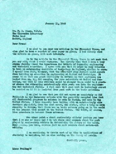 Letter from Linus Pauling to F.E. Simon. Page 1. January 11, 1950