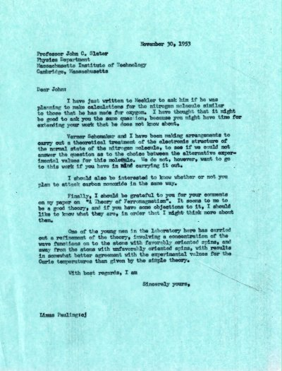 Letter from Linus Pauling to John C. Slater. Page 1. November 30, 1953