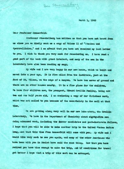 Letter from Linus Pauling to Arnold Sommerfeld. Page 1. March 1, 1940