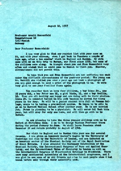 Letter from Linus Pauling to Arnold Sommerfeld. Page 1. August 10, 1947