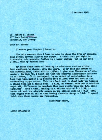 Letter from Linus Pauling to Robert B. Sosman. Page 1. October 19, 1962