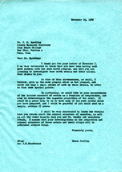 Letter from Linus Pauling to Frank H. Spedding. Page 1. November 15, 1946