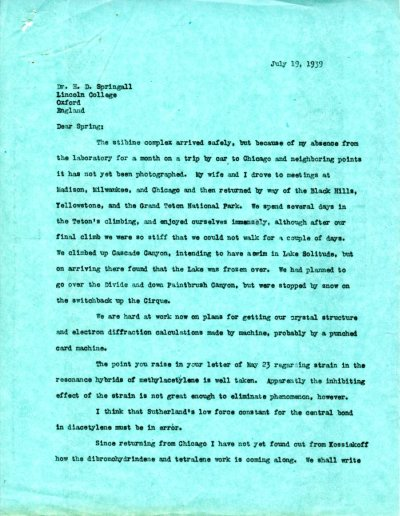 Letter from Linus Pauling to H.D. Springall. Page 1. July 19, 1939