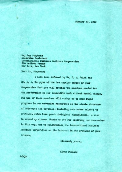 Letter from Linus Pauling to Roy Stephens. Page 1. January 23, 1940