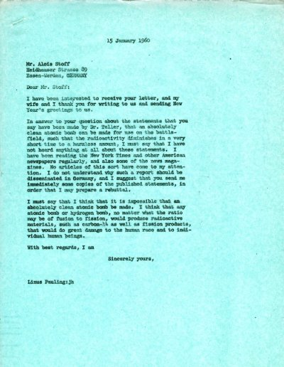 Letter from Linus Pauling to Alois Stoff. Page 1. January 15, 1960