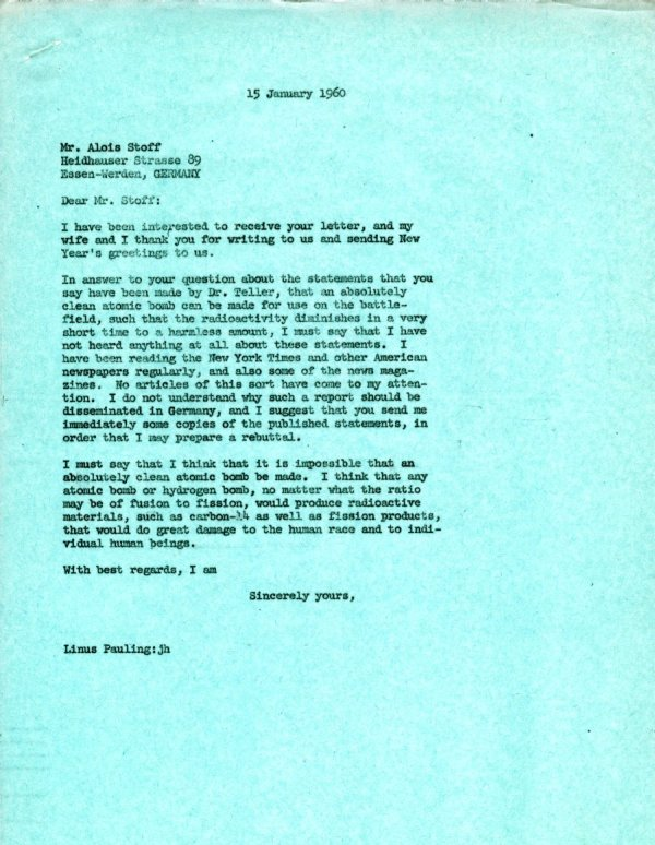 Letter from Linus Pauling to Alois Stoff.Page 1. January 15, 1960