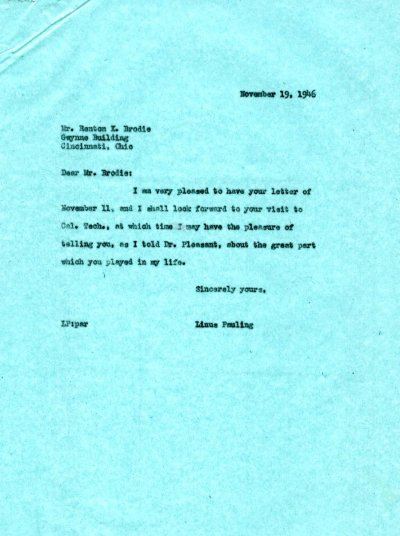 Letter from Linus Pauling to Renton K. Brodie.Page 1. November 19, 1946
