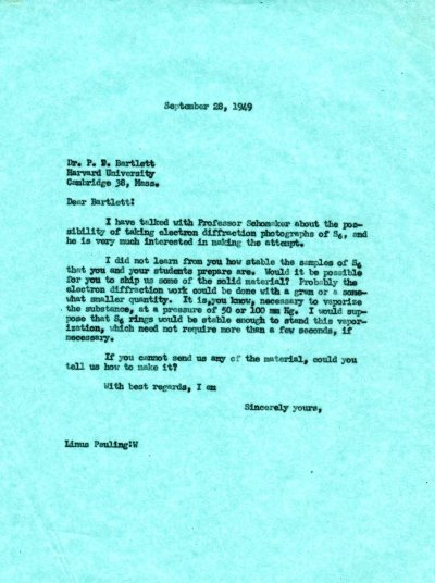 Letter from Linus Pauling to Paul D. Bartlett. Page 1. September 28, 1949