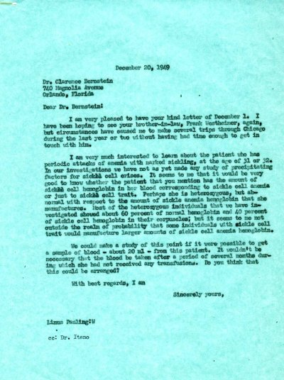 Letter from Linus Pauling to Clarence Bernstein. Page 1. December 20, 1949