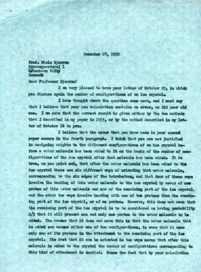 Letter from Linus Pauling to Niels Bjerrum.Page 1. December 27, 1950