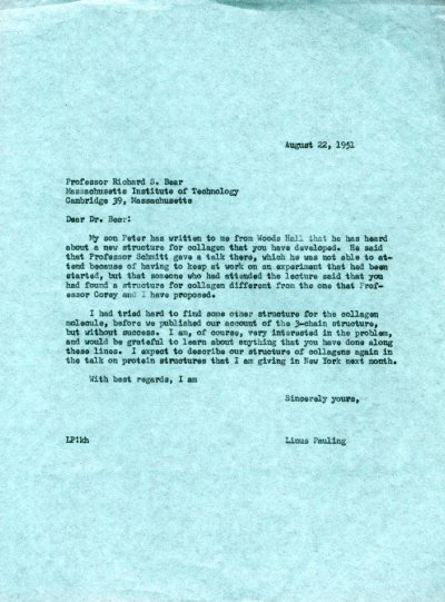 Letter from Linus Pauling to Richard Bear.Page 1. August 22, 1951