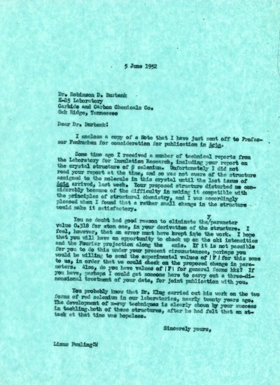 Letter from Linus Pauling to Robinson D. BurbankPage 1. June 5, 1952