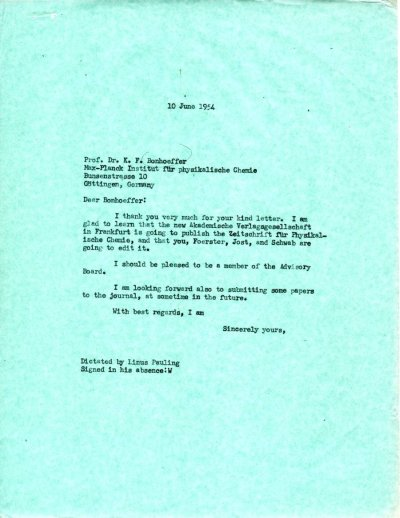 Letter from Linus Pauling to Karl F. Bonhoeffer.Page 1. June 10, 1954