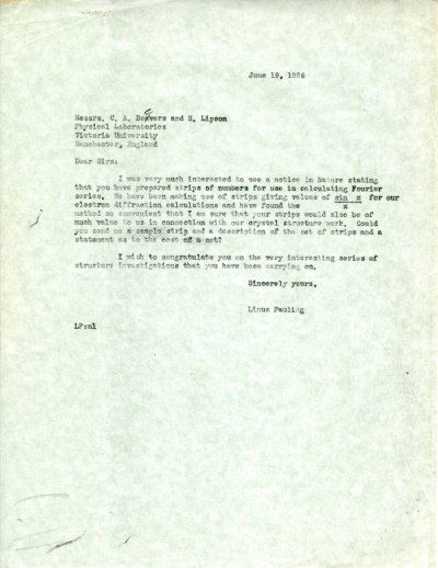 Letter from Linus Pauling to C.A. Beevers and Henry Lipson Page 1. June 19, 1936