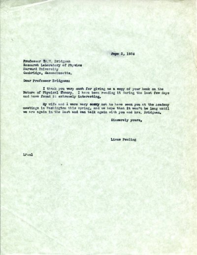 Letter from Linus Pauling to P.W. Bridgman. Page 1. May 2, 1936