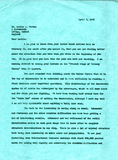 Letter from Linus Pauling to Leslie Sutton. Page 1. April 2, 1940