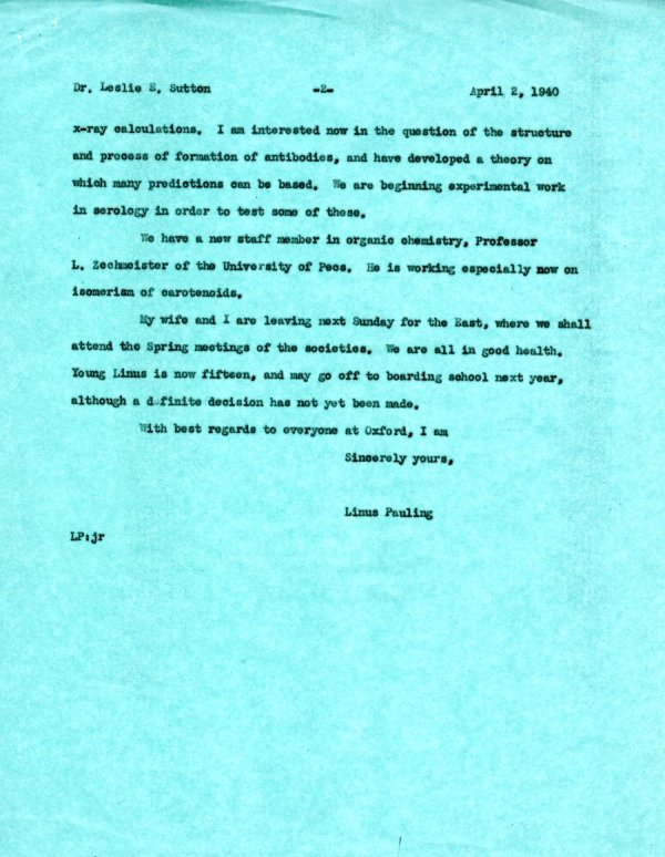Letter from Linus Pauling to Leslie Sutton. Page 2. April 2, 1940