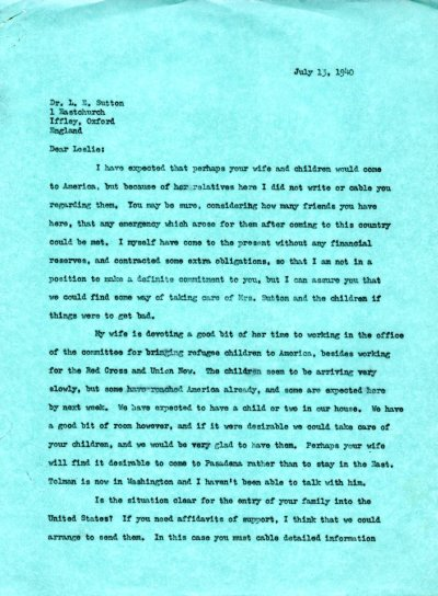 Letter from Linus Pauling to Leslie Sutton.Page 1. July 13, 1940