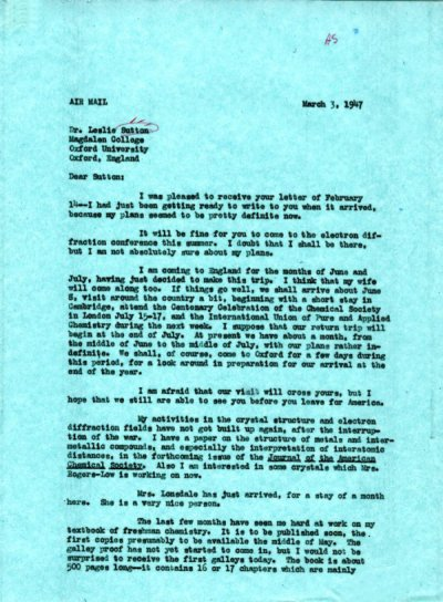 Letter from Linus Pauling to Leslie Sutton. Page 1. March 3, 1947