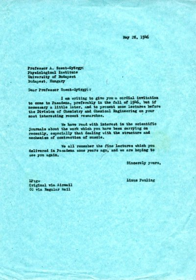 Letter from Linus Pauling to Albert Szent-Györgyi. Page 1. May 28, 1946