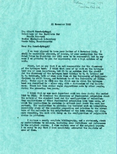 Letter from Linus Pauling to Albert Szent-Györgyi. Page 1. November 21, 1952