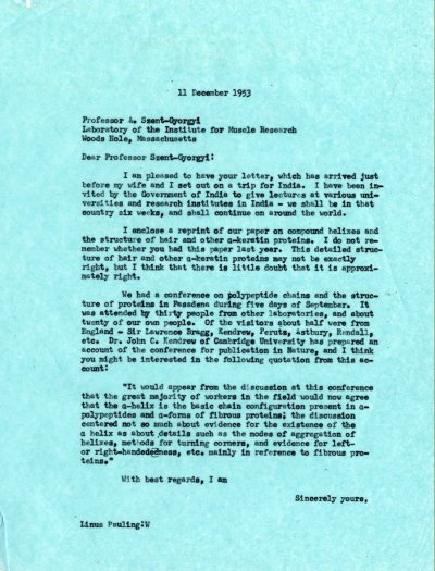 Letter from Linus Pauling to Albert Szent-Györgyi.Page 1. December 11, 1953