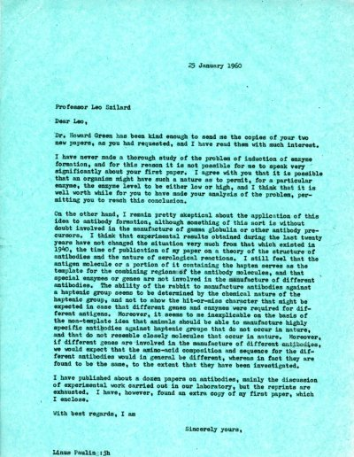Letter from Linus Pauling to Leo Szilard. Page 1. January 25, 1960