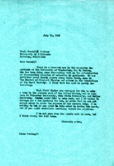 Letter from Linus Pauling to Wendell Latimer. Page 1. July 12, 1949