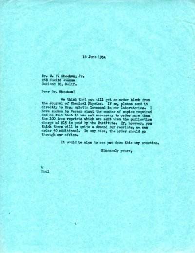 Letter from Linus Pauling to W.F. Sheehan, Jr.Page 1. June 18, 1954