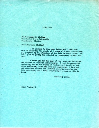 Letter from Linus Pauling to Raymond K. Sheline.Page 1. May 5, 1954
