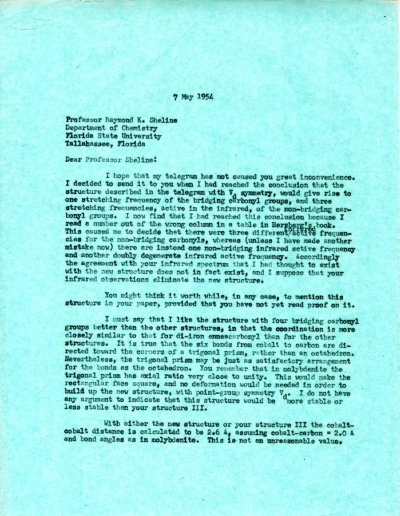 Letter from Linus Pauling to Raymond K. Sheline.Page 1. May 7, 1954