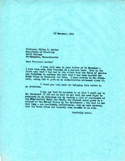 Letter from Linus Pauling to Milton D. Soffer.Page 1. November 27, 1954