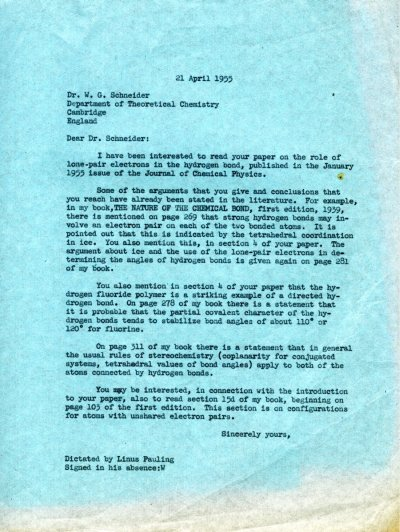 Letter from Linus Pauling to W.G. Schneider. Page 1. April 21, 1955