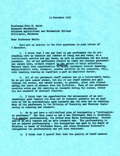 Letter from Linus Pauling to Otto M. Smith. Page 1. December 19, 1955