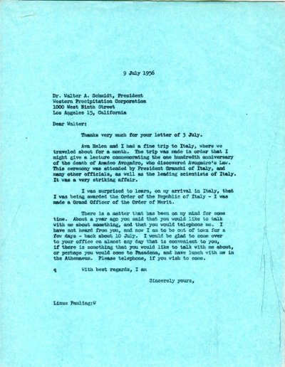 Letter from Linus Pauling to Walter A. Schmidt. Page 1. July 9, 1956