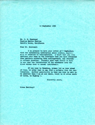 Letter from Linus Pauling to W.K. Sherwood. Page 1. September 12, 1956