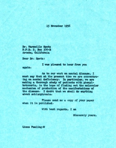 Letter from Linus Pauling to Marseille Spetz Page 1. November 15, 1956