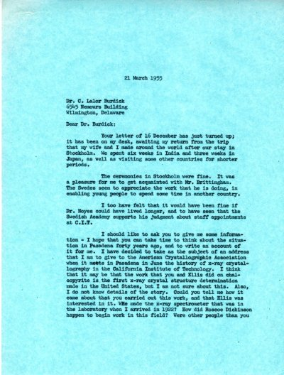 Letter from Linus Pauling to C. Lalor Burdick. Page 1. March 21, 1955