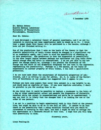 Letter from Linus Pauling to Herman Schwan. Page 1. December 6, 1960