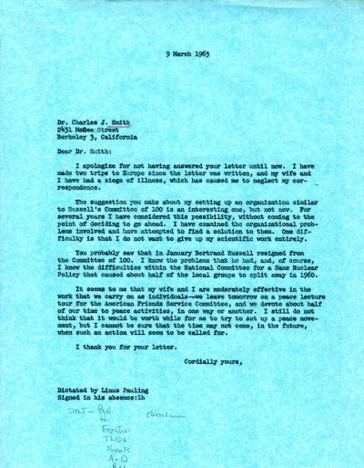Letter from Linus Pauling to Charles J. Smith. Page 1. March 9, 1963