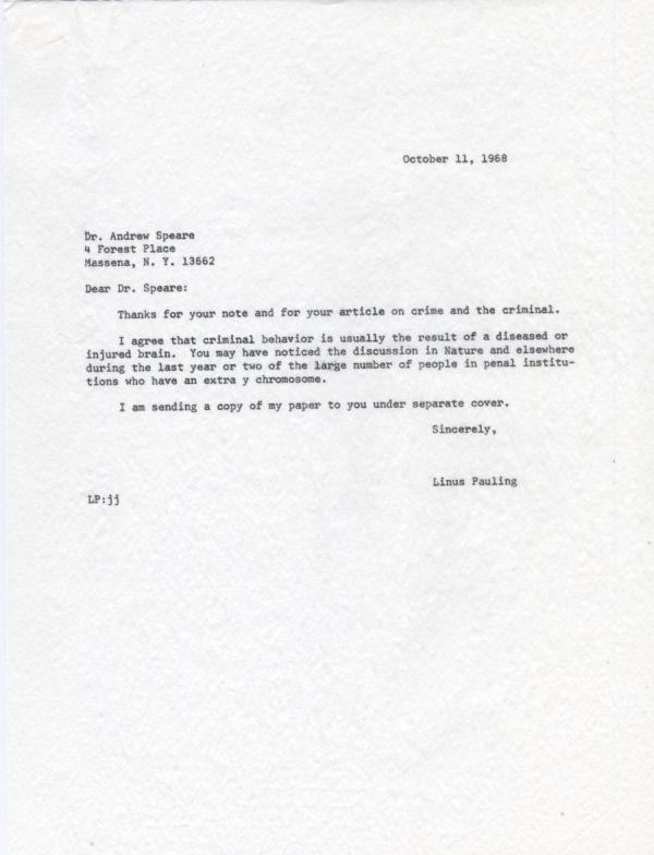 Letter from Linus Pauling to Andrew Speare. Page 1. October 11, 1968