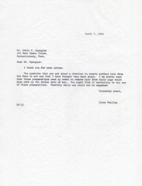 Letter from Linus Pauling to Edwin F. Spangler. Page 1. April 7, 1969