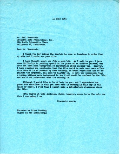 Letter from Linus Pauling to Saul Bernstein.Page 1. June 11, 1963