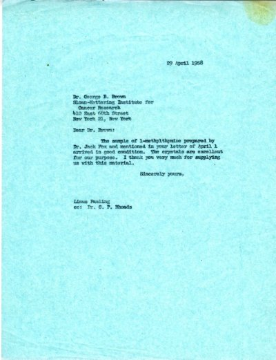 Letter from Linus Pauling to George B. Brown. Page 1. April 29, 1958