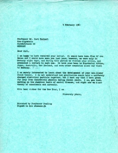Letter from Linus Pauling to Karl Bechert. Page 1. February 4, 1960