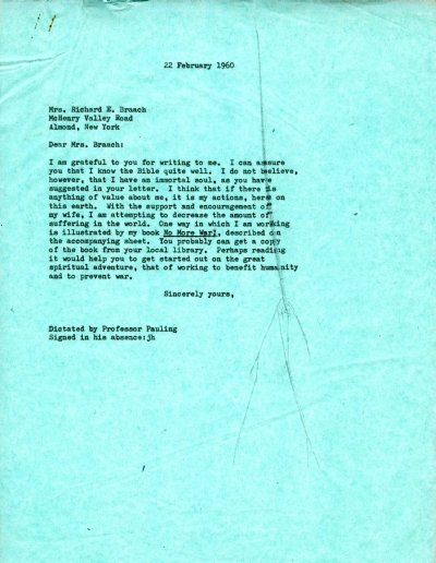 Letter from Linus Pauling to Mrs. Richard E. Braach. Page 1. February 22, 1960