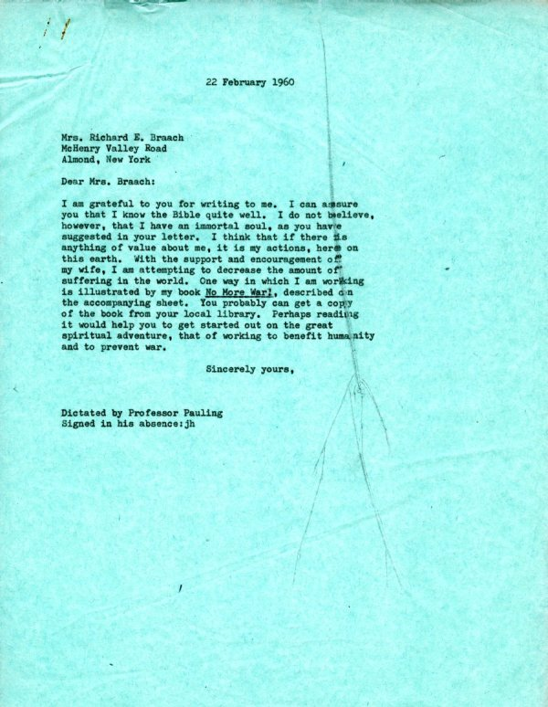Letter from Linus Pauling to Mrs. Richard E. Braach.Page 1. February 22, 1960