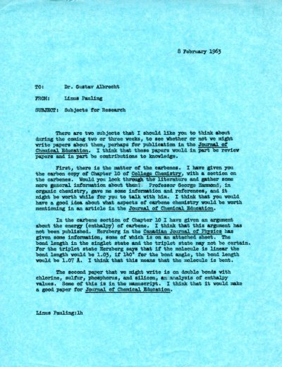 Letter from Linus Pauling to Gustav Albrecht. Page 1. February 8, 1963