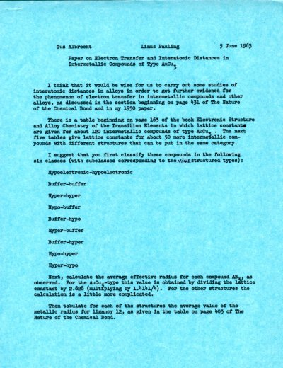 Memo from Linus Pauling to Gustav Albrecht.Page 1. June 5, 1963